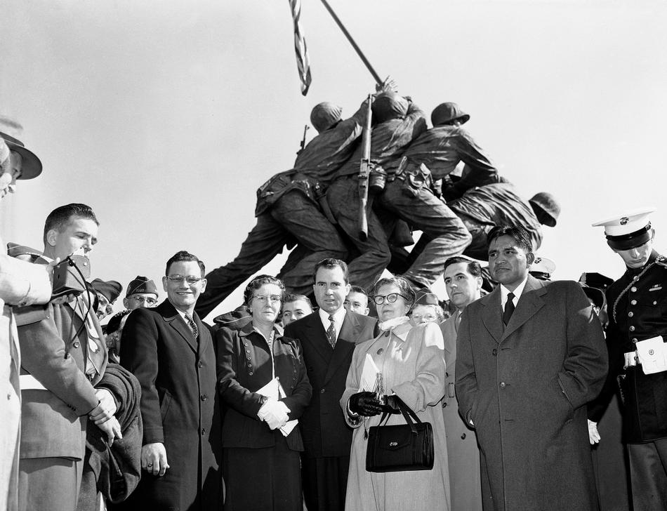 Statue Of Iwo Jima with Ira Hayes, John Bradley and President Nixon (AP Photo)