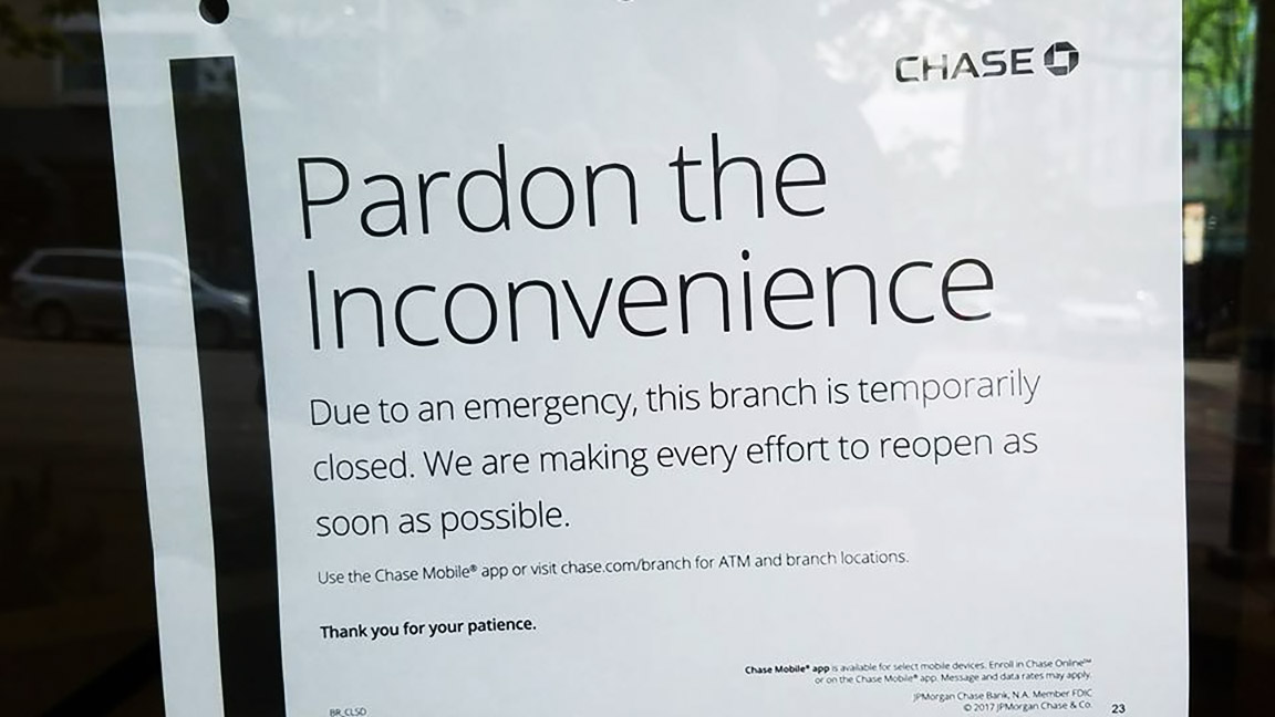 Chase Bank's Sign Outside Their Closed Bank - Photo © Sham Dressup
