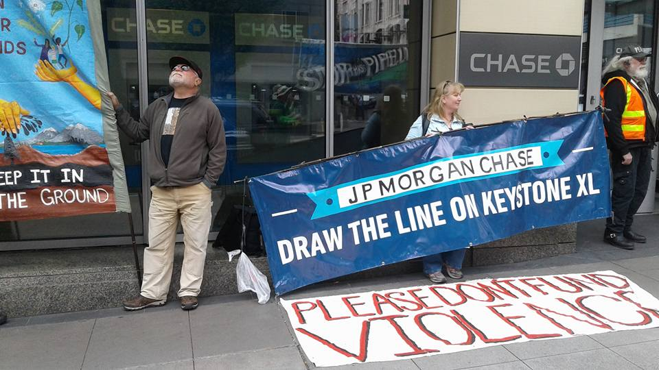 Outside Chase Bank Direct Action - © Sean Carney