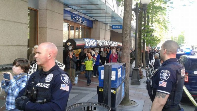Chase Bank Direct Action Activists With Police - Photo © Sean Carney