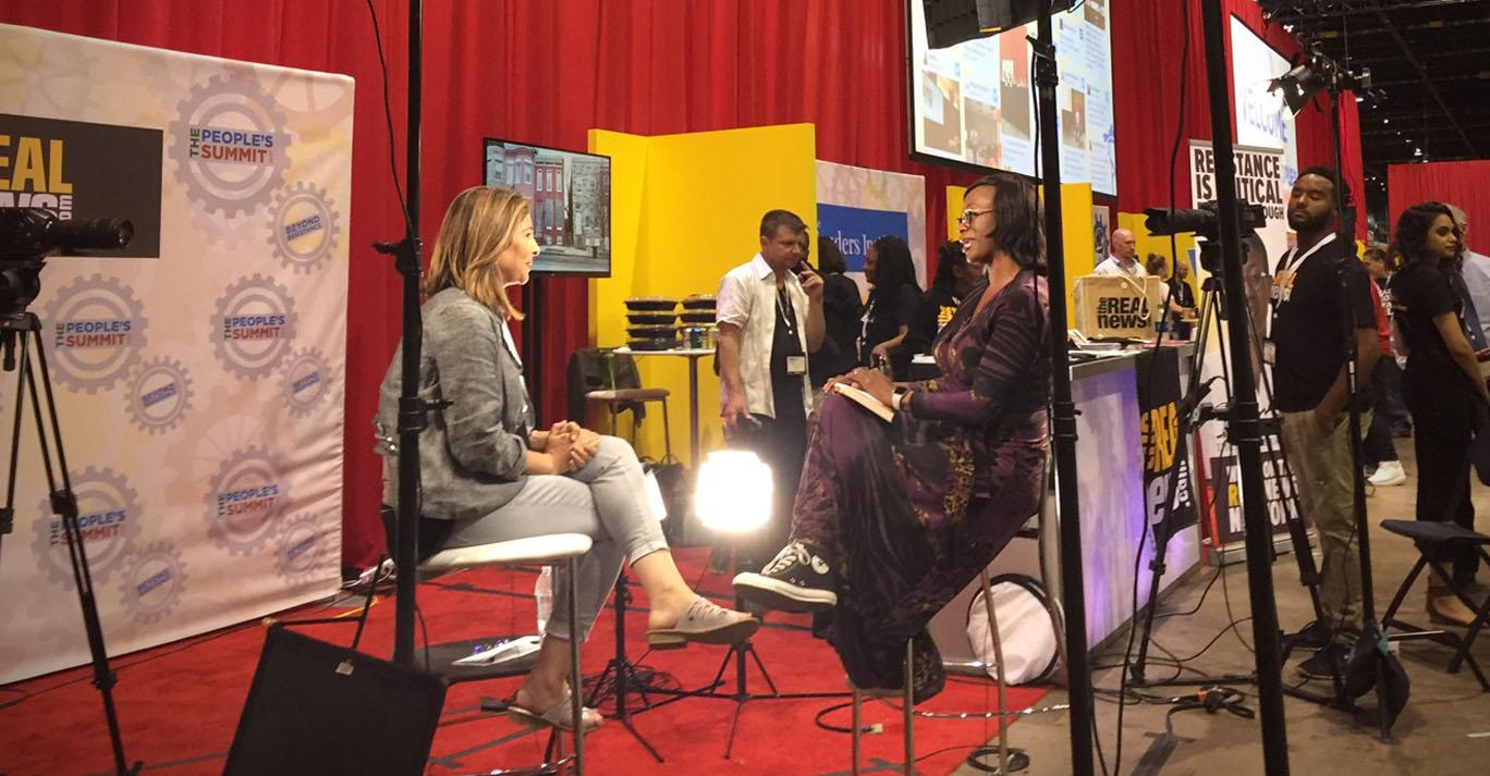 Nina Turner interviewing Naomi Klein at The People's Summit - Photo via Dimitri Lascaris